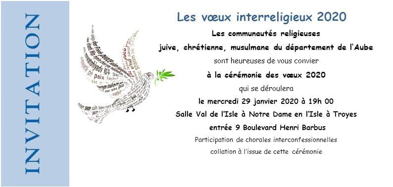 Invitation Voeux interreligieux diocèse de Troyes